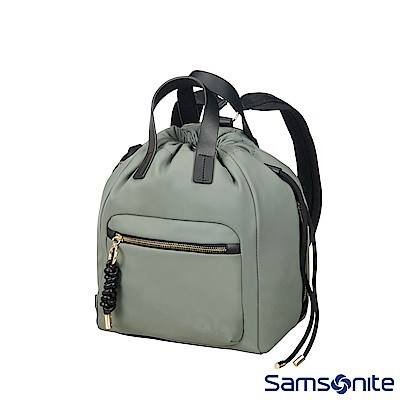 Samsonite新秀麗 Smoothy皮革抽繩束口後背包(橄欖綠)