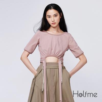 Halfme-抽繩短版綁帶上衣-女