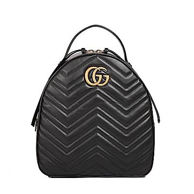 GUCCI Marmont 绗縫皮革復古金屬LOGO拉鍊後背包(黑色)