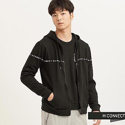 H:CONNECT 韓國品牌 男裝-CONNECT純色連帽外套-黑(快)