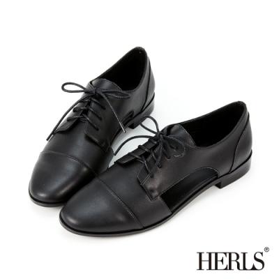 HERLS牛津鞋-全真皮側鏤空德比鞋牛津鞋-黑色