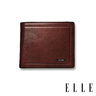 ELLE HOMME 金屬Logo系列-6卡三折窗格真皮皮夾/短夾/零錢袋- 紳士棕