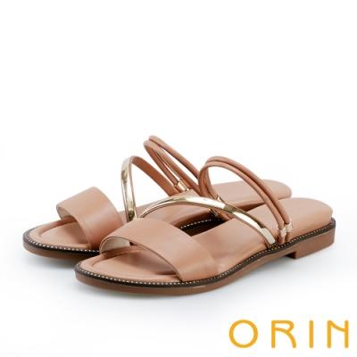 ORIN 金屬斜邊飾條牛皮平底拖鞋 棕色