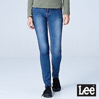 Lee 418中腰緊身窄管牛仔褲/RG-水洗藍