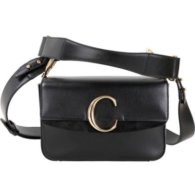 CHLOE C Bag 光滑小牛皮拼接麂皮肩背手提兩用包(黑色)