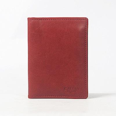 CALTAN-直式卡片夾 真皮小物 牛皮 左右翻式 便利感應卡片層-1809cd-red