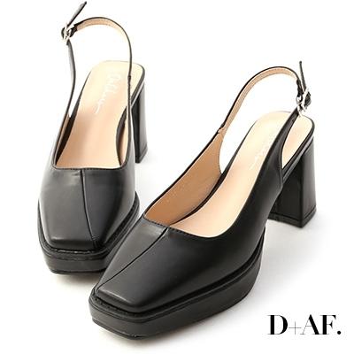 D+AF 摩登小姐.加厚水台方頭後空跟鞋*黑