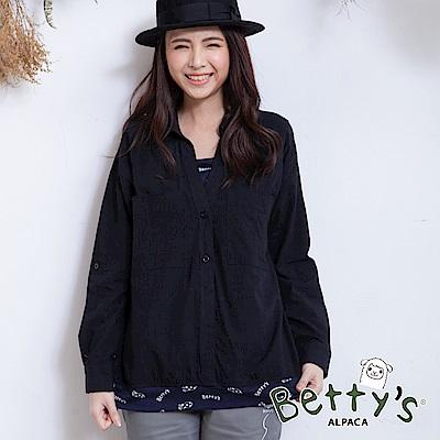 betty's貝蒂思 開襟假兩件式寬版襯衫(黑色) @ Y!購物