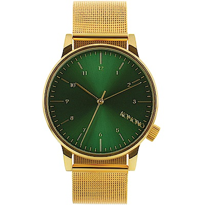 KOMONO Winston Royale 腕錶-鋯金x綠/41mm
