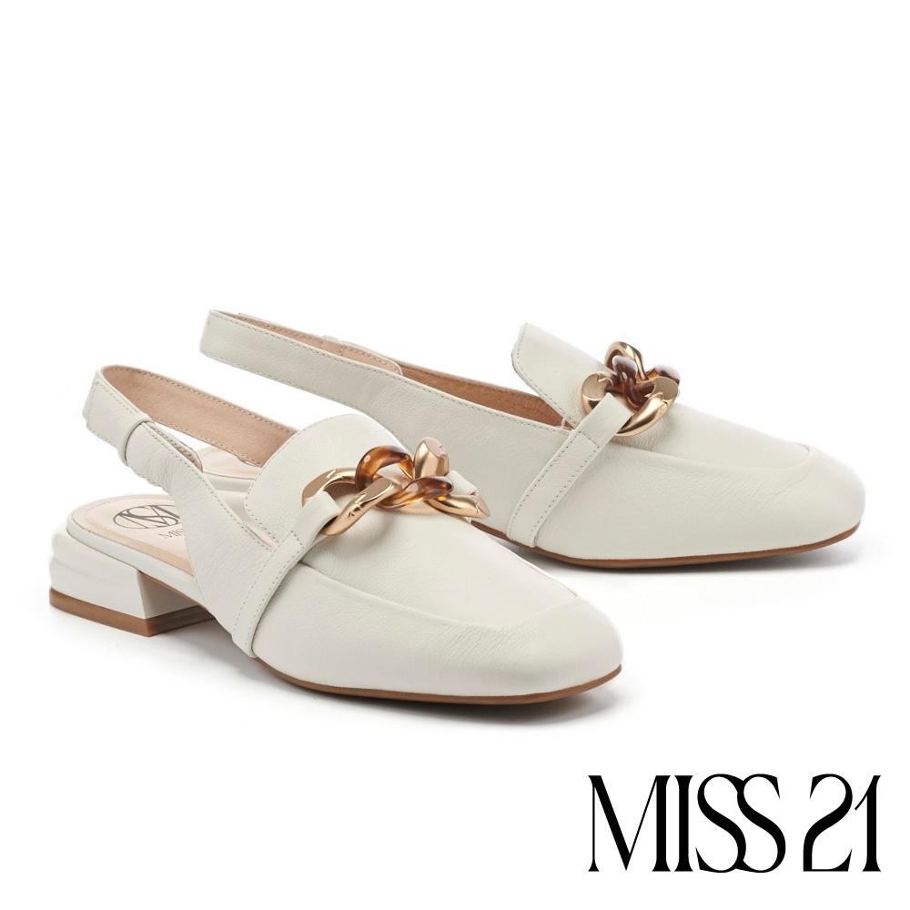 低跟鞋 MISS 21 個性質感粗釦鏈牛皮方頭後繫帶低跟鞋-白