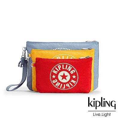 Kipling紅黃藍超值三層化妝配件包