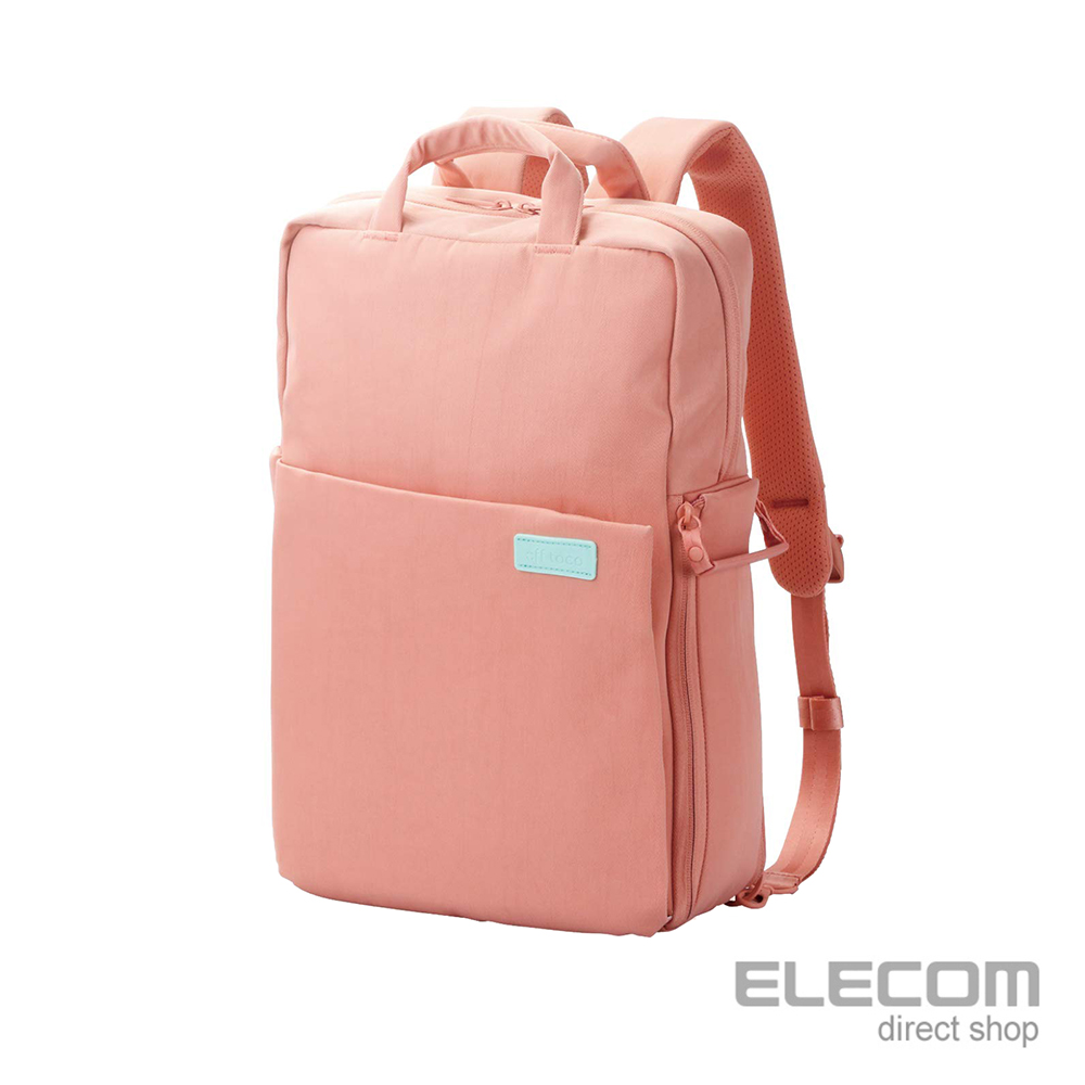 ELECOM 帆布3WAY薄型後背包OF04(限定色)-L粉紅