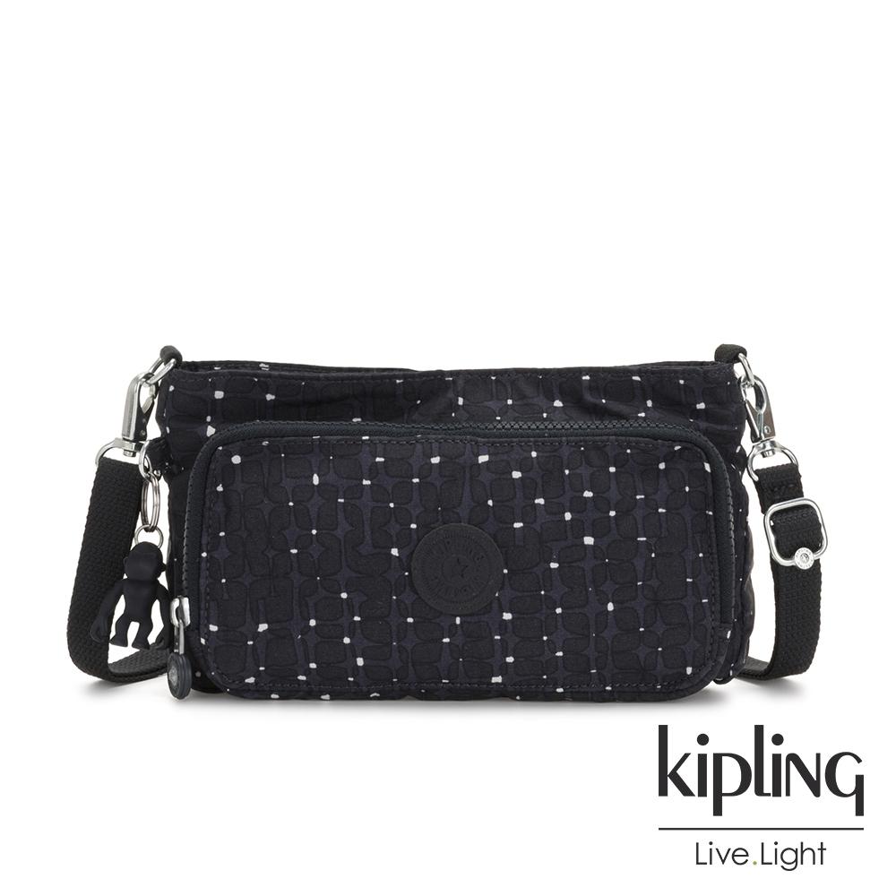 Kipling 低調質感緹花前袋拉鍊長形肩背包-MYRTE