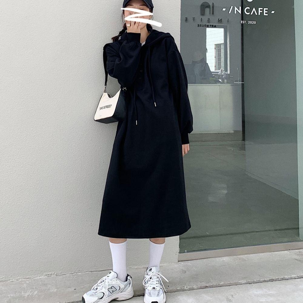 MOCO素色連帽抽繩半開釦長版衛衣棉料過膝洋裝M~2XL product image 1