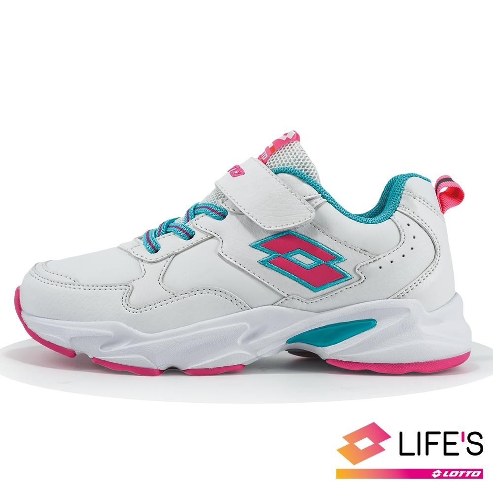 LOTTO 義大利 童 經典復古運動鞋 (白/粉)