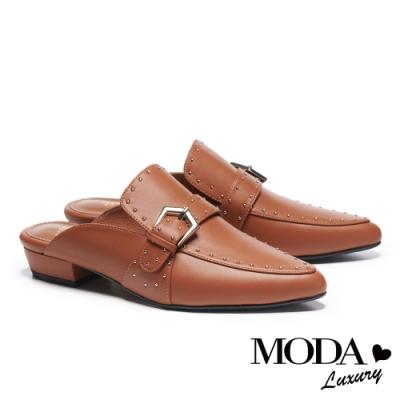 拖鞋 MODA Luxury 復古個性鉚釘點綴尖頭低跟穆勒拖鞋-咖