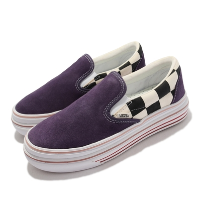 Vans 休閒鞋 Super Comfycush 男女鞋 懶人鞋 厚底 棋盤格 街頭風 膠底 抓地 紫 白 VN0A4U1F26C