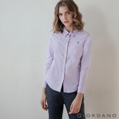 GIORDANO 女裝經典刺繡彈力牛津紡長袖襯衫-86 薰衣草紫