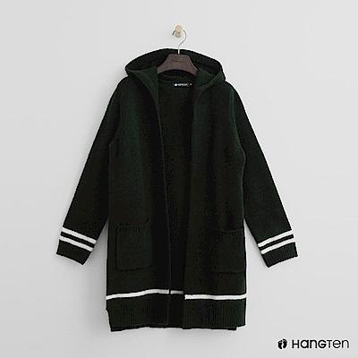 Hang Ten - 女裝 - 雙口袋連帽針織外套-綠