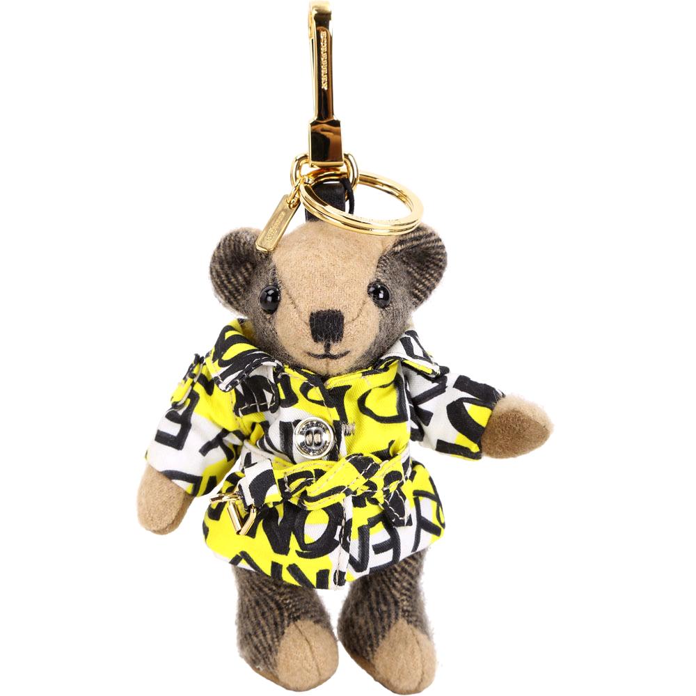 BURBERRY THOMAS 塗鴉印花風衣泰迪熊吊飾