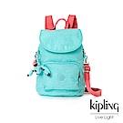 Kipling糖果色調薄荷綠撞色掀蓋後背包-CARAF
