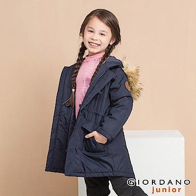 GIORDANO 童裝多口袋皮革徽章中長版連帽鋪棉外套-66 標誌海軍藍