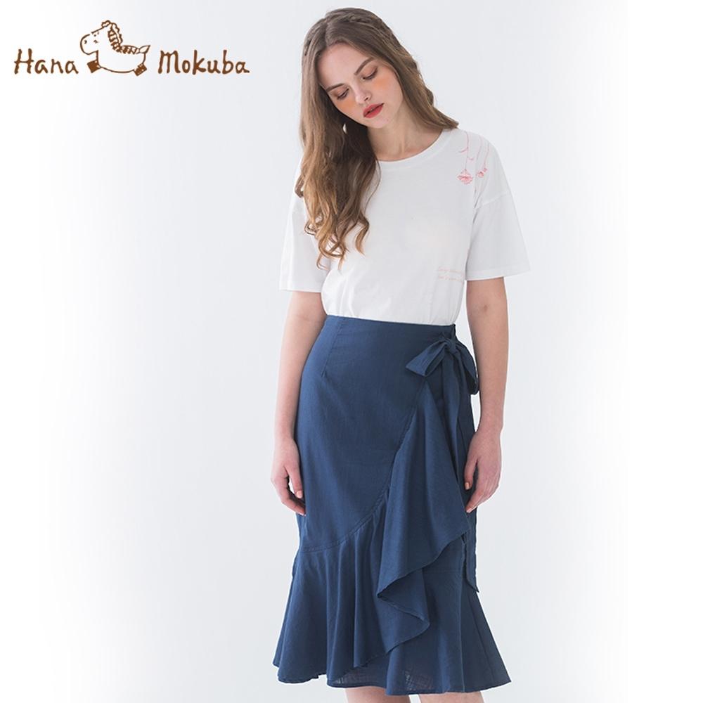 Hana-Mokuba-花木馬日系女裝交錯波浪造型半身裙_深藍