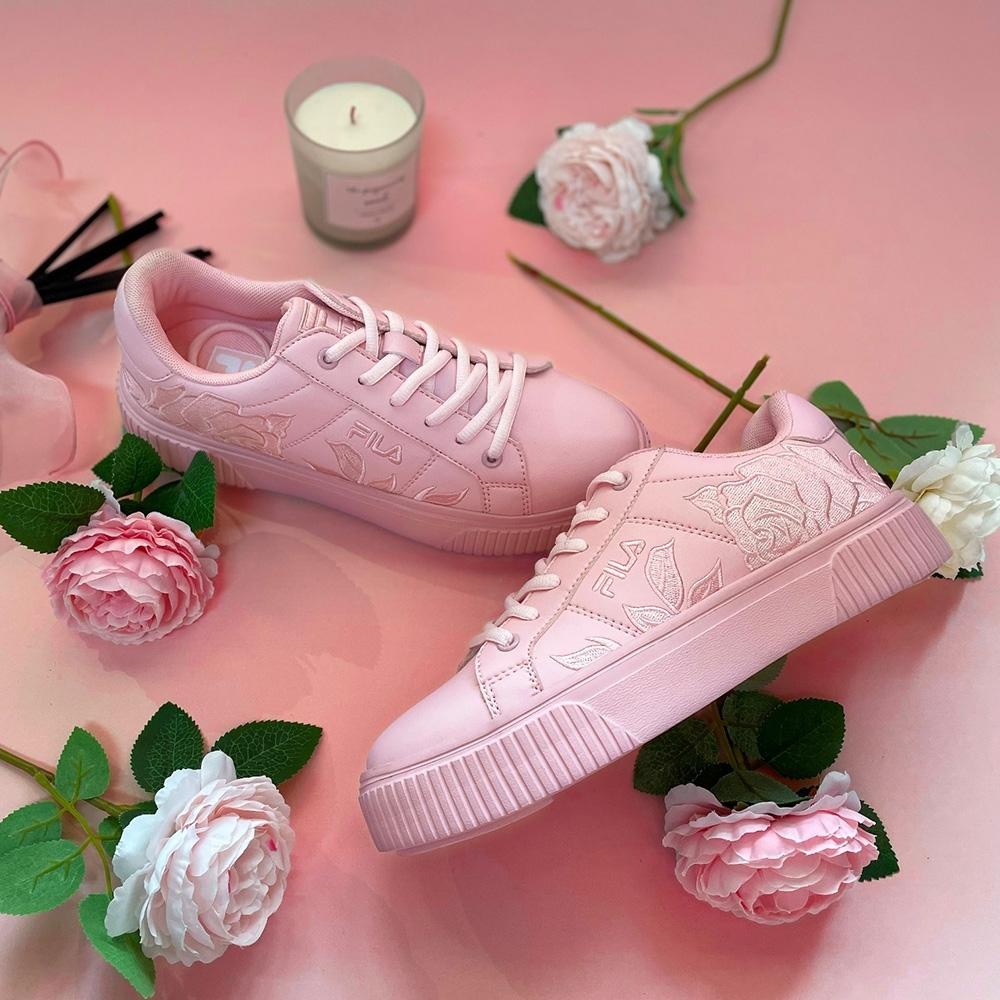 FILA #母親節限定 COURT DELUXE 女潮流復古運動鞋-粉 5-C123V-555