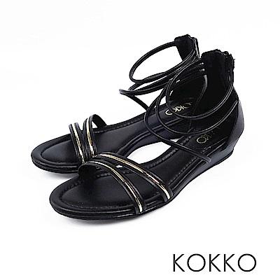 KOKKO - 羅馬假期旅行真皮細帶平底涼鞋 - 經典黑