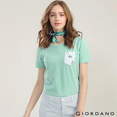 GIORDANO  女裝單邊口袋趣味印花T恤-05 綠色