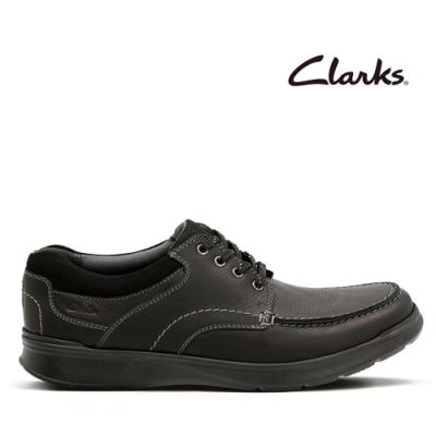 Clarks 樂活休閒 光面皮革寬楦綁帶輕量休閒鞋 黑色