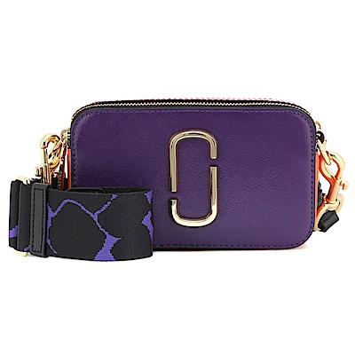 MARC JACOBS Snapshot防刮牛皮相機包/斜背包-紫色x鑽石幾何紋背帶