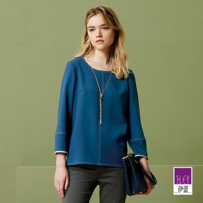 ILEY伊蕾 質感配色壓線上衣(藍)