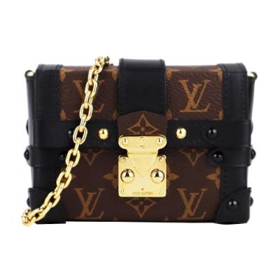 Louis Vuitton ESSENTIAL TRUNK 帆布拼接牛皮壓扣鏈帶斜背包(咖黑)