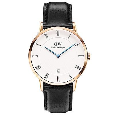 DW手錶 官方旗艦店 38mm玫瑰金框 Dapper 爵士黑真皮皮革手錶