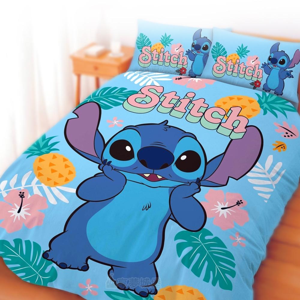 享夢城堡 雙人加大床包兩用被套四件組-迪士尼史迪奇Stitch 阿囉哈-藍