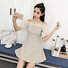 DABI 韓國風時尚蕾絲拼接氣質一字領短袖洋裝