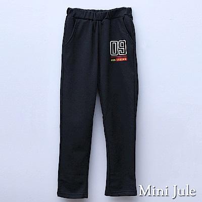 Mini Jule 大童 長褲  09字母刺繡雙口袋鬆緊腰長褲(黑)