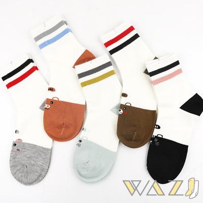Wazi-日系卡通動物圖案棉質中筒襪 (1組五入)