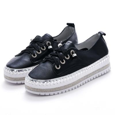 Camille's 韓國空運-正韓製-牛皮鑽條綁帶厚底懶人休閒鞋-黑色