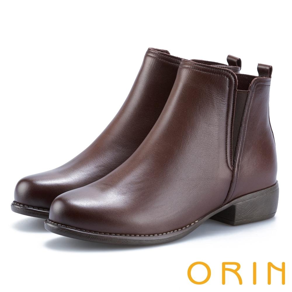 ORIN 簡約個性 復古牛皮拉鏈低跟短靴-咖啡