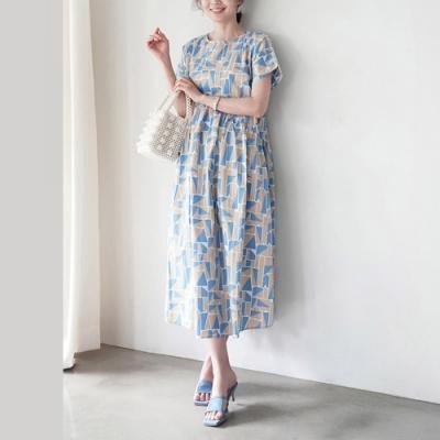 2F韓衣-簡約圓領幾何配色印花洋裝-2色(F)