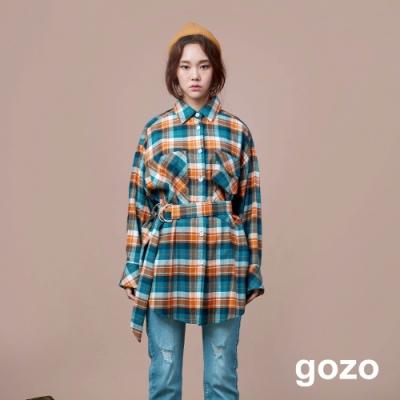 gozo 多色長版格紋襯衫(附腰帶)(二色)