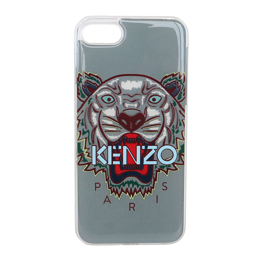 KENZO 3D立體彩繪虎頭淺藍英文字母 I PHONE 8 軟膠手機殼 (灰色) @ Y!購物