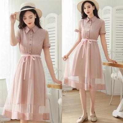 【韓國K.W.】年度精選展現獨特綁帶條紋網紗洋裝-2色