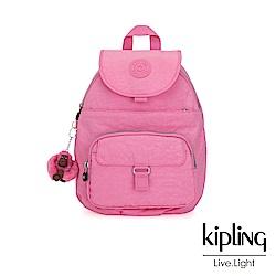 Kipling 甜美糖果粉前扣多隔層後背包-QUEENIE