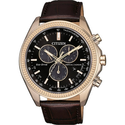 CITIZEN 星辰 光動能萬年曆計時手錶-咖啡(BL5562-18E)