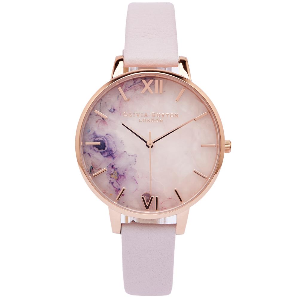 OLIVIA BURTON 玫瑰石花朵風手錶(OB16SP03)-粉面/38mm