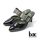 bac紐約不夜城 - 摩登復古漆皮異材質兩截式穆勒鞋 -黑