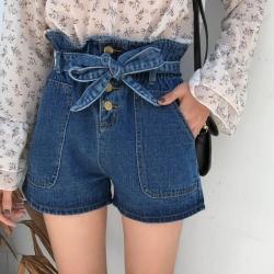 La Belleza高腰排釦荷葉壓折鬆緊腰附綁帶大口袋牛仔短褲